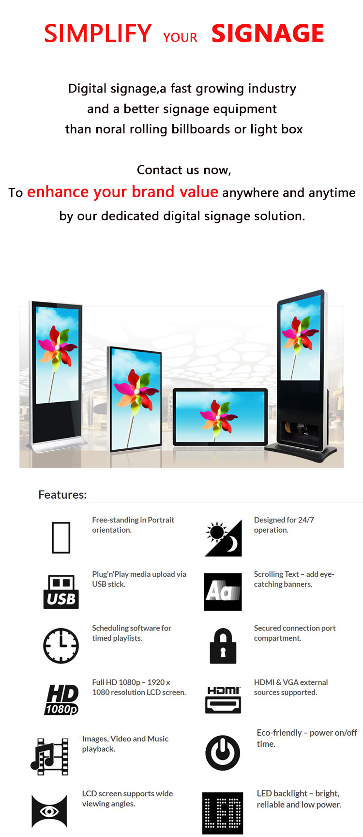 84 Inch Floor Standing Android advertising display Wifi Control auto updating digital sign