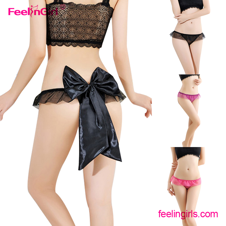 OEM Young Girls Bow Back Transparent G-string Women Panties
