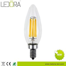 Dimmable 2W 4W 360 degree E12 AC110V Led Filament Candle Light Bulbs Warm White Glass Cover