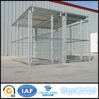 Metal tube and mesh panel dog runs with fight guard dividers