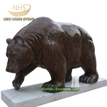 life size marble hand carved bear sculpture