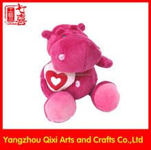 Best selling valentine 's day cute pink plush hippo soft hippo plush toy with hearts