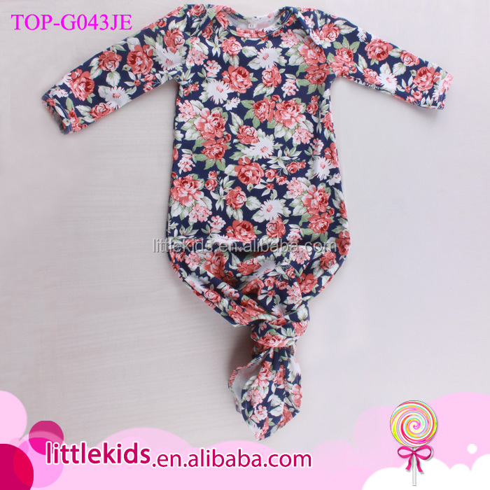 Vintage Floral Baby Sleepsacks Evening Gown Infant Baby Night Clothes Knotted Newborn Sleeping Gowns