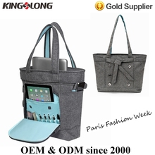Paris 14-inch Linen Lady Laptop Carry Bag Notebook Messenger Pouch Computer Tote