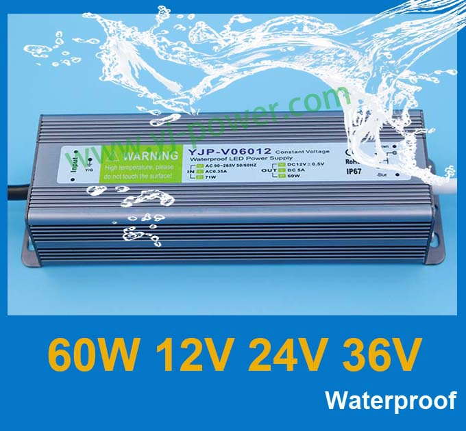 (YJP-V06024) AC to DC power supplier 24v 60w led driver 24v waterproof power supply, CE Rohs IP67 free shipping