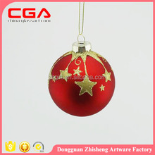 CGA Dongguan zhisheng CGA custom red Xmas hanging glass ball hand painted star glass ball