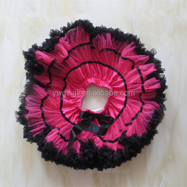 Girls Petti skirt Design princess girls dress normal style chiffon material red and black tutu skirt