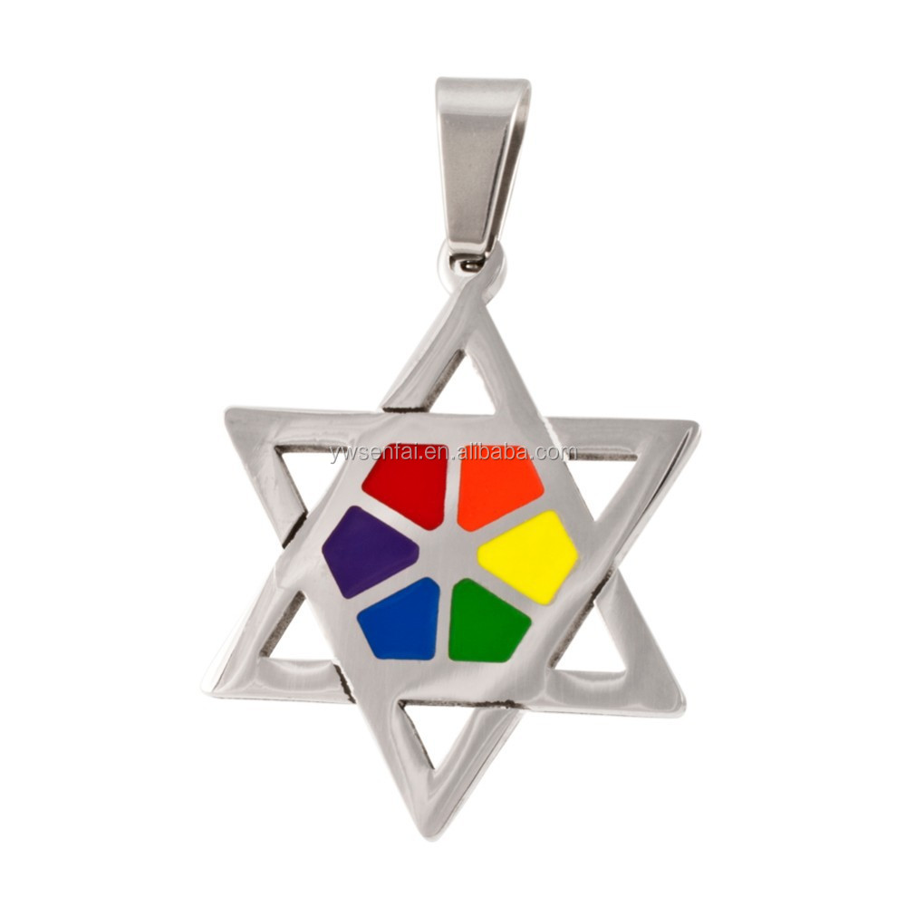 Top sale unique jewelry 32*25mm silver plated rainbow color gay pride pendant