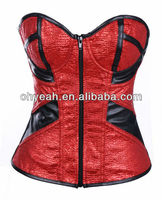 Unique design 4 colors stock available front zipper style sexy mature women satin corsets