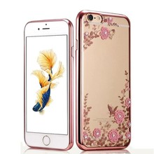 C&T Butterfly Floral Flower Diamonds Shiny Frame Plating Bumper Soft TPU Case for iPhone 7 Plus