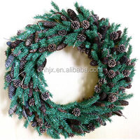 High Quality Green Artificial Christmas Wreath With Pinecone And Pine Needle