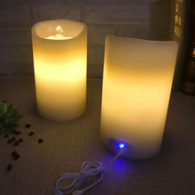 Wax Tabletop Rechargeable Fountain Dancing Water LED Flameless Candle with Timer