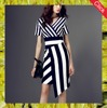 2016 latest design fashion striped long ladies dresses for women
