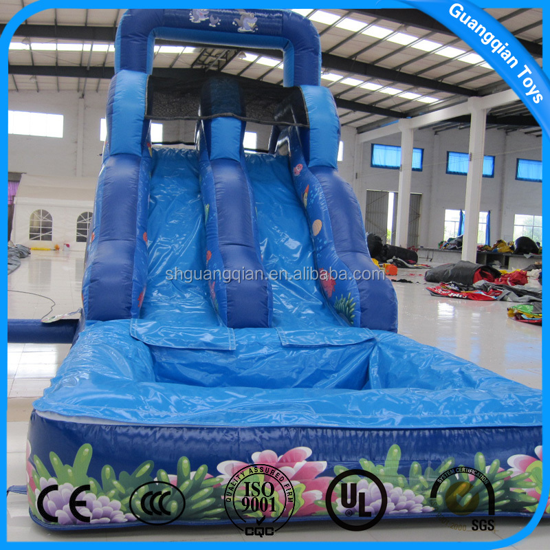 Guangqian China Commercial Inflatable Climbing With Water Slide Pools For Sale