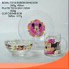 wholesale set 3pcs of glass ware with cute decal