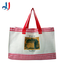 New Design Unique Cotton Fabric Bulk Reusable Folding Shopping Tote Bag with PP Webing Handle