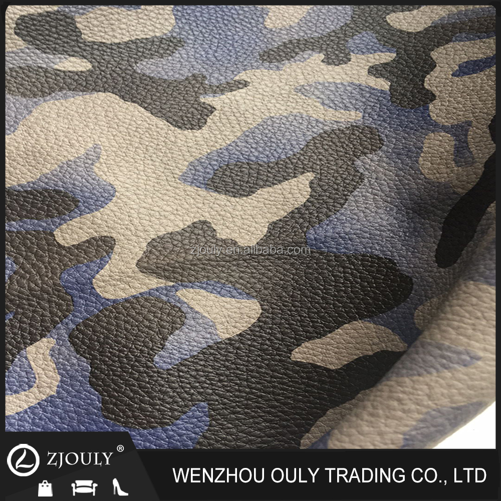 animal print fabric comouflage embossed litchi grain synthetic pu leather