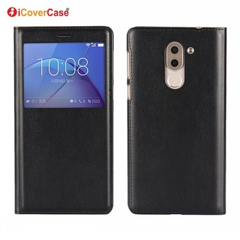 Mobile Phone Accessories PU Leather Flip View Case for Huawei Honor 6X Mate 9 Lite GR5 2017 Cover with Auto Sleep Function