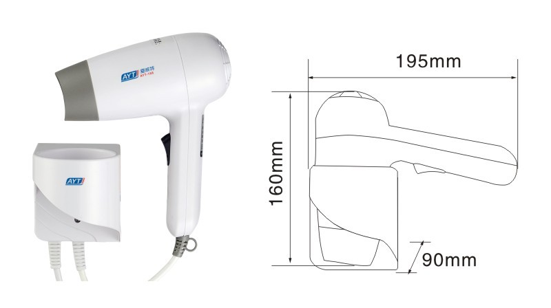 CE wall mounted quiet hotel hair dryer