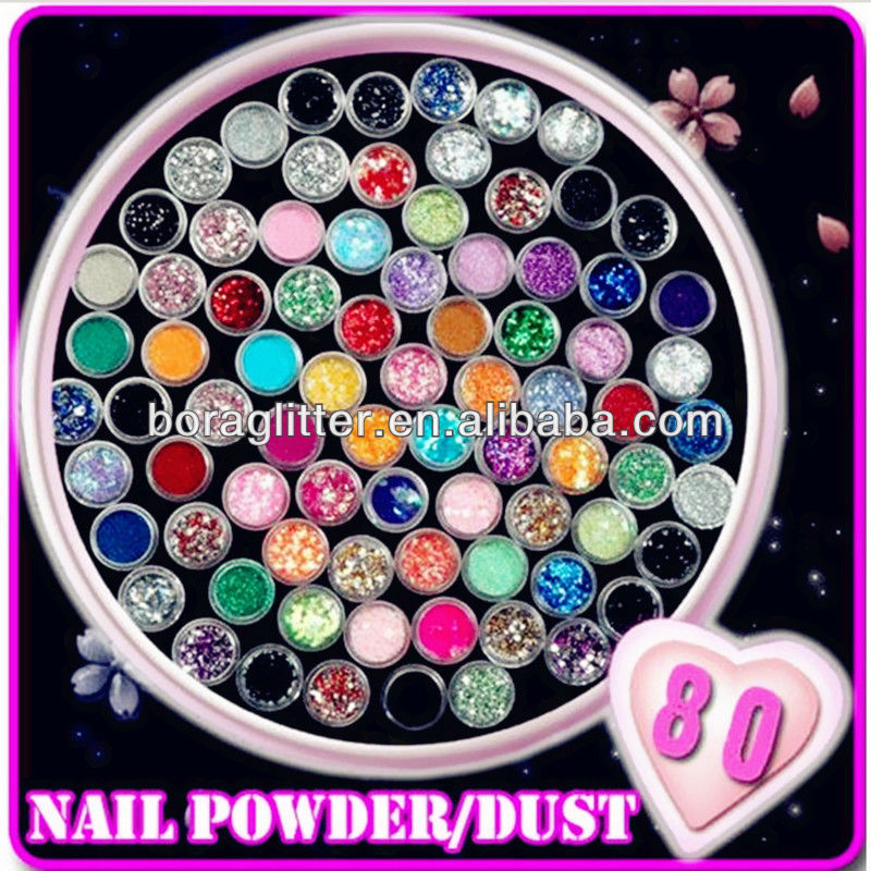 80 Colors Nail glitter powder /dust Decoration