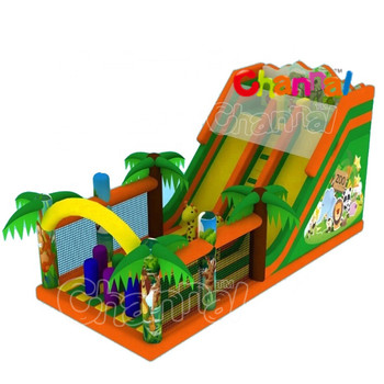 Animal World Wildlife Large Triple Lane  slides jumping bounce castle with pool intex Inflatable water slide
