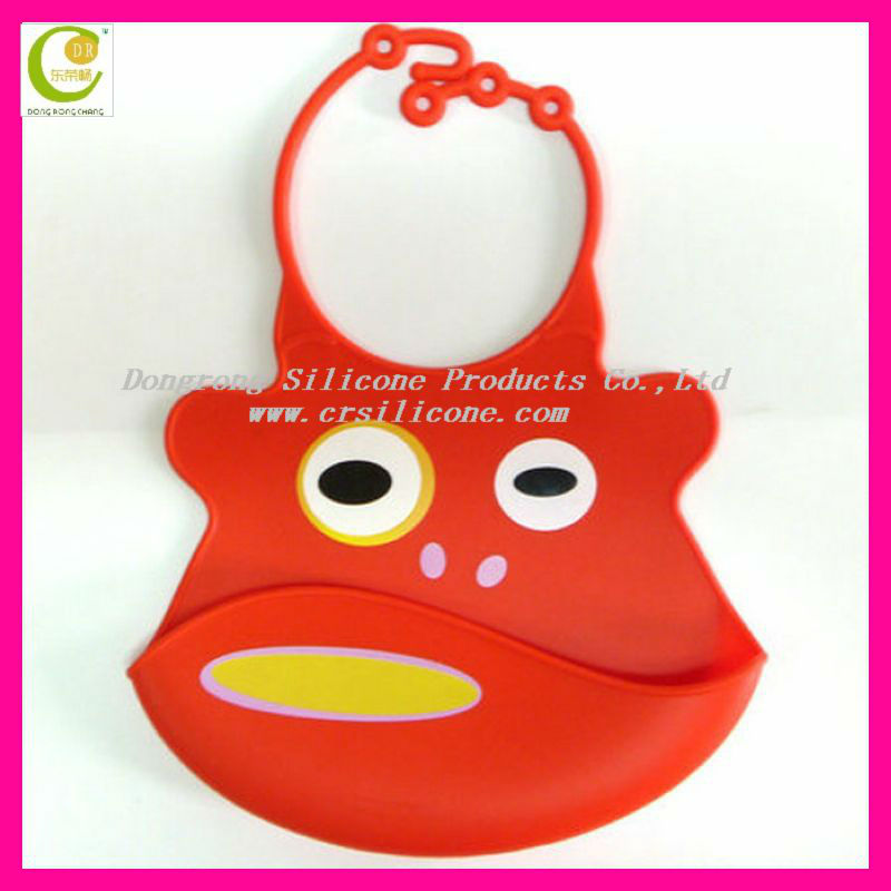 World popularly fashion style red Monkey style food grade silicone rubber baby bibs bandana