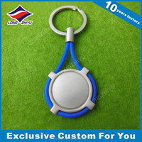 Silver plated key holder blank keychain with blue rope