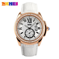 Fashion gold color vogue quartz mov't lady watch with genuine leather strap
