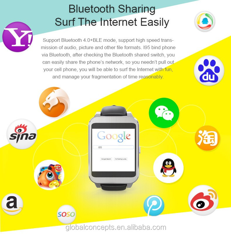 smart watch 4 sets Alarm 6 sets clocks interface 1.54 inch touch screen i95 bluetooth smartwatch for android smartphone