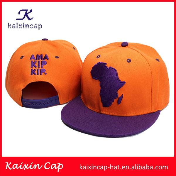 Wholesale plain blank 3d Africa Map Embroidery Logo Snapback Cap/Hat With Plastic Enclosure Back cap and hat