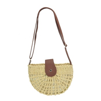 Cotton Lining Straw Woven Handbag Summer Beach Women Shoulder Bag with Wide Leather Shoulder Strap
