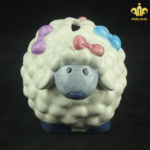 Direct Factory Produce Wholesale OEM Art Decor Cute Novelty Ceramic Sheep Custom Made Coin Bank