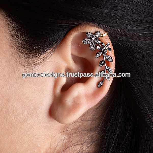 Pave Diamond Floral Style Ear Cuff, 925 Sterling Silver Diamond Ear Cuff, New Arrivals Diamond 18k Gold Ear Cuff Jewelry