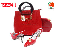 2016 latest style red sexy ladies wedding high heel shoes and leather handbag to match