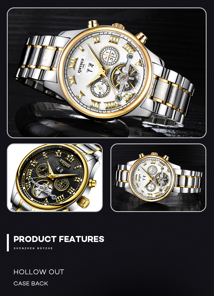 KINYUED Luminous Full Stainless Steel Watch 3ATM Life Water Resistant Hand Watch For Male