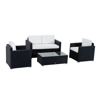 4-Piece Cushioned Outdoor Rattan Wicker Sofa Sectional Patio Furniture Set