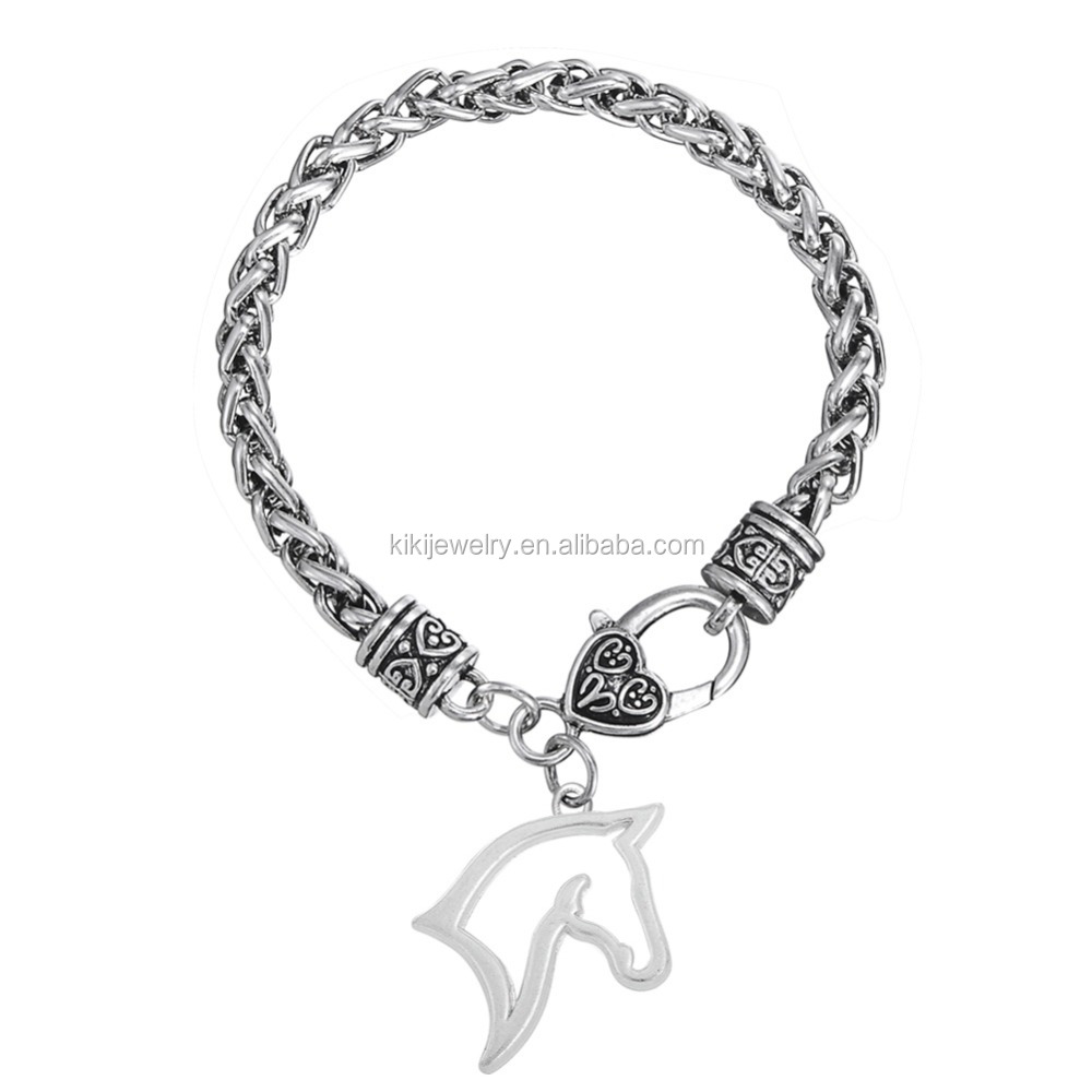 Fashion Eco-Friendly Open Horse Head Silver Lobster Claw Wheat Chain Charm Bracelet