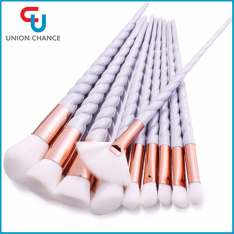 10PCS Unicorn Makeup Brush Kit White Plastic Handle With Rose Gold Ferrule Cosmetic Brush