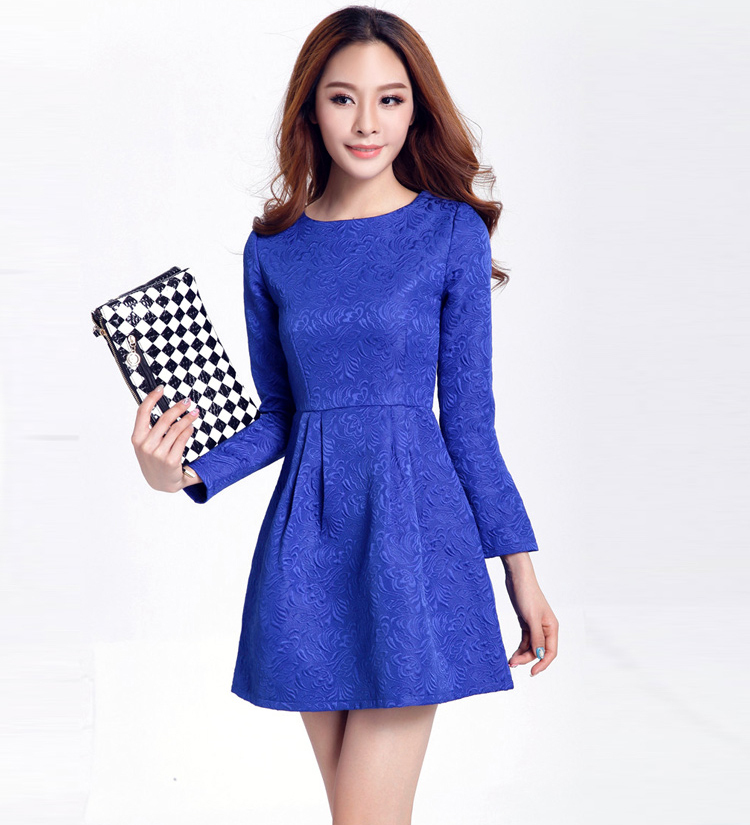 Europe Runway 2015 Autumn Winter Women Jacquard White Clothing Ladies Long Sleeve O-Neck Elegant Cute Dresses Plus Size XXXL
