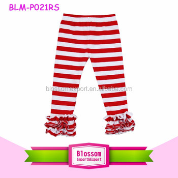Wholesale Christmas boutique girls Christmas triple ruffle icing pants red stripes