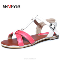 Hot sale china cheap large size jelly color pu upper sweet girl comfort flat ankle trap sandals