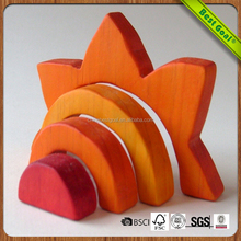 Rainbow wood educational block toys for kids