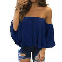 monroo Women'S Chiffon Blouse Half Sleeve Slash Neck Soild Shirt Strapless Off Shoulder Fashion Feminine Blouses Ladies Tops