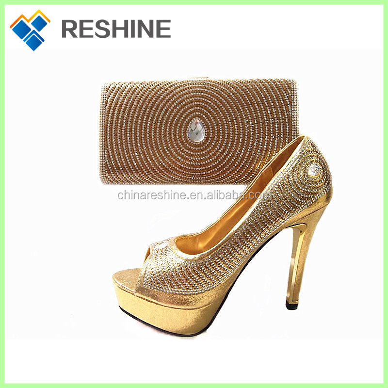 2016 Italian Woman Matching bling fashion African Nigeria For Wedding Party bag and shoes set women