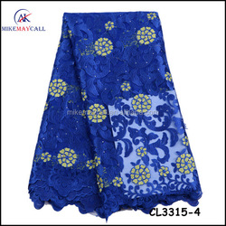 CL3315-4 Wholesale soft 100% nylon blue fabric,indian embroidered bridal tulle lace fabric