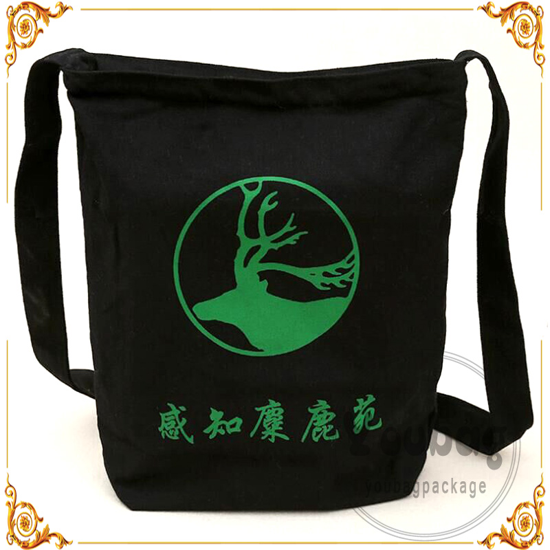 Custom designed euro canvas tote bags with zipper closure with ribbon string