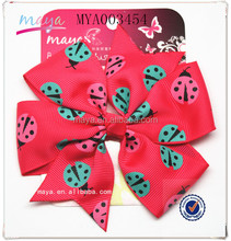 2016 spring Hot Toddler Ribbons printed beetles hair bows WITHT CLIP(approved by BV)