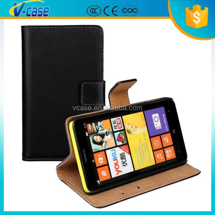 Genuine leather card slot holder wallet leather case for nokia lumia 625
