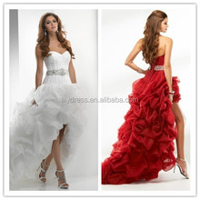 Custom Vintage Puffy With Feathers MM-7719 Red Sexy Robe De High Stylish Low Ball Gown Wedding Dress With Sweetheart Neckline