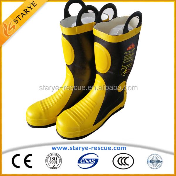Steel Toe and Sole Firefighting Used Portect Fireman Fire Boots